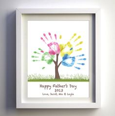 Fathers Day Gift - DIY Childs Handprint Tree - Printable PDF or JPG - Kids Craft Project Fathers Day - Family Tree file via Etsy