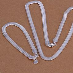 925 đồ trang sức Sức bạc mạ bộ, 925-sterling-silver thời trang trang sức Set 6mm Flat rắn Bone/dglalxsa cotalgaa S084