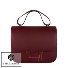 ff79f1a158b Rare hermes 29cm constance cartable rouge h red shoulder bag ghw gold