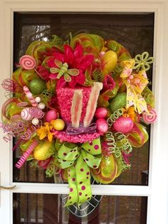Easter Hat Deco mesh Wreath.