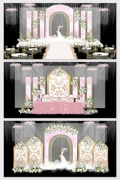 Modern minimalist European pink wedding wedding design background renderings#pikbest#decors-models Wedding Theme Design, Wedding Backdrop Design, Pink Wedding Theme, Wedding Stage Decorations, Wedding Color Schemes, Wedding Designs, Wedding Ideas, Wedding Ceremony Arch, Wedding Scene