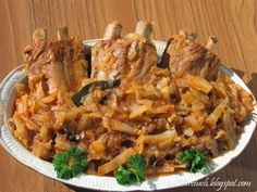 Żeberka w kapuście Polish Recipes, Polish Food, Risotto, Pork, Food And Drink, Chicken, Meat, Dinner, Ethnic Recipes