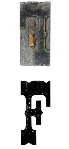 20 line Tuscan Egyptian wood type capital letter F