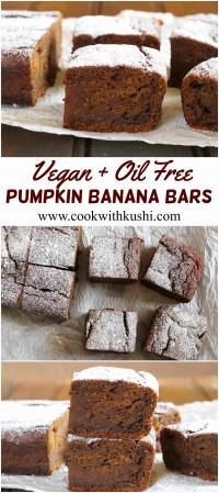 Vegan Pumpkin Banana Bars on MyRecipeMagic.com  Easy to make, flavorful and delicious bars that are crispy at the edges and are moist and chewy inside. A perfect dessert to welcome Fall season.