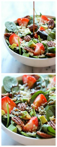 Strawberry Quinoa Salad - A healthy, filling salad tossed in a sweet and tangy balsamic vinaigrette, creating the perfect blend of flavors!