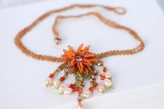 Statement Orange Flower Hand Woven Beaded Necklace Flower Beaded Necklace Hand Woven Beaded Jewelry Orange Beaded Necklace Bazaars R Us handmade USA