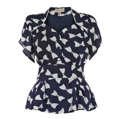 6caf7fcc7275 Lindy Bop Angel Navy Bow Blouse 50s Style Clothing