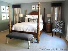 Sharing a master bedroom before and after makeover with tips on choosing a new mattress, layout and smart furniture choices for the bedroom. Box Valance, Cornice Box, Window Valances, Farmhouse Style Bedrooms, Farmhouse Curtains, Home Still, Favorite Paint Colors, Master Bedroom Makeover, Paint Colors For Home