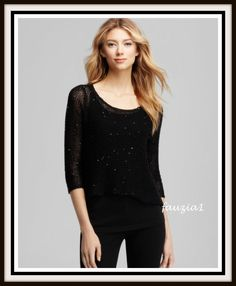 XS EILEEN FISHER Top Black Chain Mail Sequin Mesh Cotton Weave $358 NWT NEW #EileenFisher #KnitTop