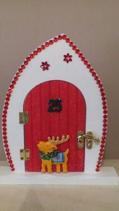 Handpainted personalised christmas fairy door in red elves for Wooden elf door