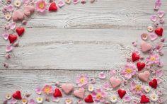 цветы, фон, лепестки, ромашки, розовые, сердечки, марципан, декор