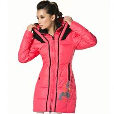 Women's Stand Collar Knit Double Hood Zip-up Printing Mid-length Winter Down Jacket