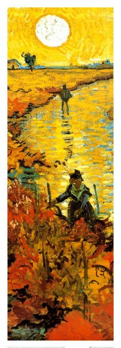 The Red Vineyard at Arles, c.1888 by Vincent van Gogh - great example of a wide range of warm oranges and yellows with a little complementary blue to add intensity to the oranges