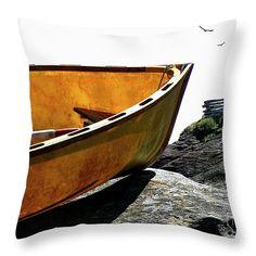 Marooned Throw Pillow by Micki Findlay - TheSingingPhotographer.com - various sizes, home decor, cushion, gabriola island, boat, nautical, beach decor, coastal