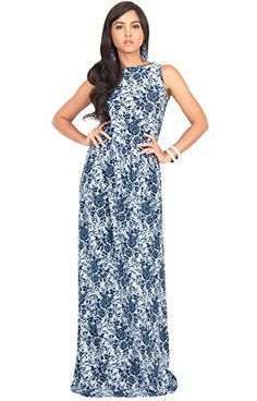 87911ec24ba KOH KOH Womens Sleeveless Floral Lace Print Summer Cocktail Long Gown Maxi  Dress Color Navy Blue