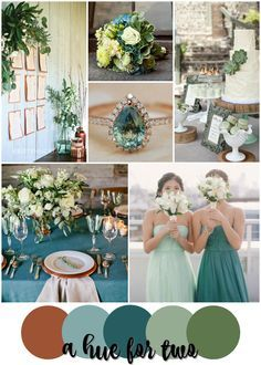 Teal, Sage and Copper Rustic Wedding Colour Scheme Rustic Wedding Colors, Spring Wedding Colors, Elegant Wedding, Rustic Color Schemes, Wedding Color Schemes, Wedding Present Ideas, Wedding Ideas, Wedding Stuff, Wedding Inspiration