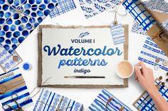 Indigo blue watercolour patterns @creativework247
