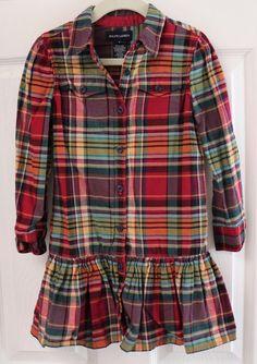 RALPH LAUREN Girls Dress size 5 Plaid Ruffles Long Sleeve SKI WEAR Cotton EUC  #RalphLauren #EverydayHoliday