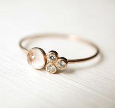 Rosenquarz Ring Moissanite Ring Multi-Stein-Ring von Luxuring