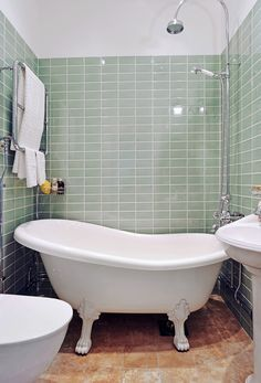 small bathroom with clawfoot tub design - Google Search