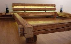 Holzbett rustikal  Bauanleitung Balken-Bett | Bed frames, Bedrooms and Woods
