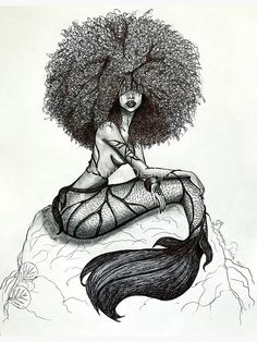 Goddess of the Sea is a part of my Mermaid Series # Untamed. She is my depiction of a mermaid based on the stories I was told as a child of the beautiful mermaids that lived in the blues holes of The Bahamas. Black Love Art, Black Girl Art, Art Girl, Tattoo Girls, Girl Tattoos, Leg Tattoos Women, Mermaid Drawings, Mermaid Tattoos, Drawings Of Mermaids