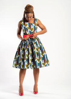 Blossom like a flower in our Sacnite Ankara dress African print floral dresses #africanprintdresses #ankarastyles