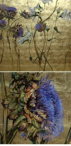 cornflower blue on faded gold: beautiful art by Claire Basler Más Art Floral, Art Graphique, Botanical Art, Painting Inspiration, Design Inspiration, Design Ideas, Painting & Drawing, Illustration Art, Fine Art