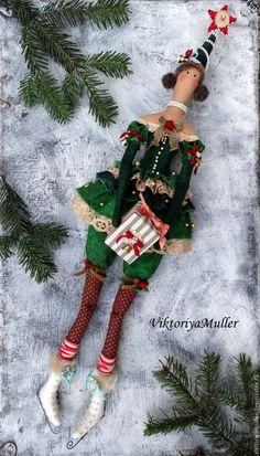 кукла тильда купить кукла ручной работы новогодний подарок новогодний сувенир новый год 2016 ёлка новогодняя коньки