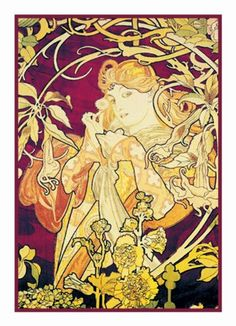 Ivy in Purple by Alphonse Mucha Counted Cross Stitch or Counted Needlepoint Pattern