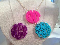 enamel monogram necklaces