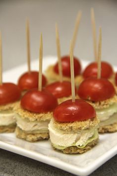 mini red-hat chicken sliders-Love these little bite sized savory treats for High tea