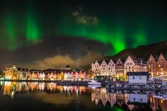 Aurora Borealis  Taken by Gunnar Kr Kopperud on October 14, 2013 @ Harbour area in Bergen, Norway