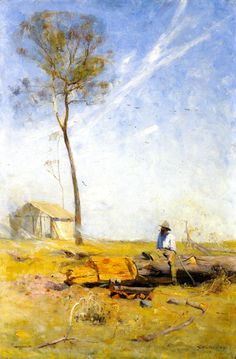 The Selector's Hut (also known as Whelan on the Log) Sir Arthur Streeton Abstract Landscape, Landscape Paintings, Watercolor Paintings, Watercolors, Australian Painting, Australian Artists, Virtual Art, Art Academy, Indigenous Art