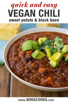 Sweet Potato Black Bean Chili- A delicious and easy vegan chili full of nutrients and flavor. Sweet Potato Black Bean Chili- A delicious and easy vegan chili full of nutrients and flavor. Sweet Potato Chili Vegetarian, Sweet Potato Chilli, Vegan Sweet Potato Recipes, Easy Vegan Chili, Vegan Bean Recipes, Vegan Recipes Plant Based, Easy Vegan Dinner, Vegan Dinner Recipes, Veggie Recipes