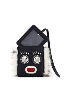 FENDI Monster Face Fur-Trim Luggage Tag W/ Pouch, Black/White. #fendi #