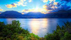 1920x1080 Wallpaper sun, mountains, lake, greens, solarly, ripples