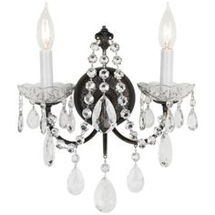 This two light wall sconce features beautiful hand-cut crystal and a hand-painted vibrant bronze finish. 12 high x wide. Extends from the wall. Backplate is wide x 1 deep. Uses two maximum 60 watt candelabra bulbs (not included). Style # at Lamps Plus. Wall Sconce Lighting, Chandelier Lighting, Wall Sconces, Hanging Crystals, Large Crystals, Crystal Wall, Crystal Lamps, Crystal Design, Candelabra Bulbs