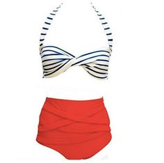 High Waist Sailor Bikini Set on Etsy, £22.71