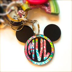 Lilly Pulitzer Inspired Mickey Mouse Monogram Keychain by MagicalMonograms on Etsy (null) Monogram Keychain, Vinyl Monogram, Disney Gift, Disney Crafts, Diy Vinyl Projects, Disney Keychain, Acrylic Keychains, Just Girly Things, Gifts For Friends
