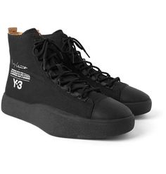 Y-3 BASHYO PRINTED CANVAS HIGH-TOP SNEAKERS. #y-3 #shoes #