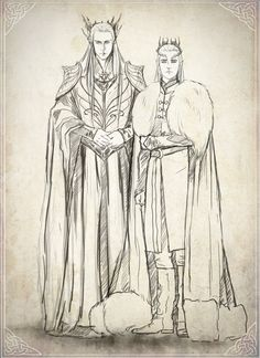 Some clothes concept for Thranduil and Legolas Mirkwood Family sketch Hobbit Art, O Hobbit, Thranduil And Legolas, Family Sketch, Character Inspiration, Character Design, Mirkwood Elves, Illustration, Elvish
