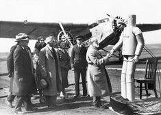 Willie Vocalite at the Ford trimotor National Air Transport opening ceremony, Newark Airport, 1931.