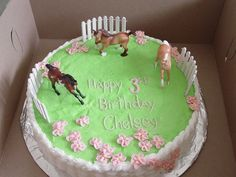 Horse Pasture Birthday Buttercream with plastic Breyer horses and fence. Basket work on the sides with buttercream apple blossoms. Horse Theme Birthday Party, Birthday Cake Girls, Horse Party, Horse Birthday Cakes, Birthday Nails, Birthday Ideas, Western Cakes, Cowgirl Cakes, Cowgirl Party
