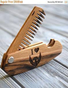 ON SALE I love beard mustache wooden folding comb Beard comb Men gift Lumberjack Fathers Day Dad Gift idea Walnut