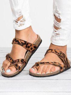 Boho Sandals, Leather Sandals, Women Sandals, Shoes Women, Summer Sandals, Leopard Sandals, Flat Sandals, Trendy Sandals, Flat Shoes