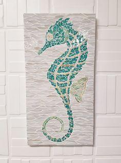 Sparkling fish stained glass mosaic, Coastal Art, Beach ...