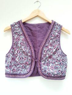 Indian Cotton Gypsy Embroidered Boho Hippie India Ethnic Festival Waistcoat Vest M uk 12 14 us 8 10  vintage 70s hippy style