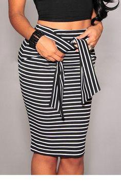 e7816ef8b70 Fashion Midi Skirt For Women High Waist Stretchy Slim Seamless Striped Skirt  Decoration  Bow Waistline