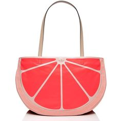 Kate Spade Flights Of Fancy Grapefruit Tote ($228) ❤ liked on Polyvore featuring bags, handbags, tote bags, kate spade tote, red tote bag, evening purse, kate spade and tote handbags